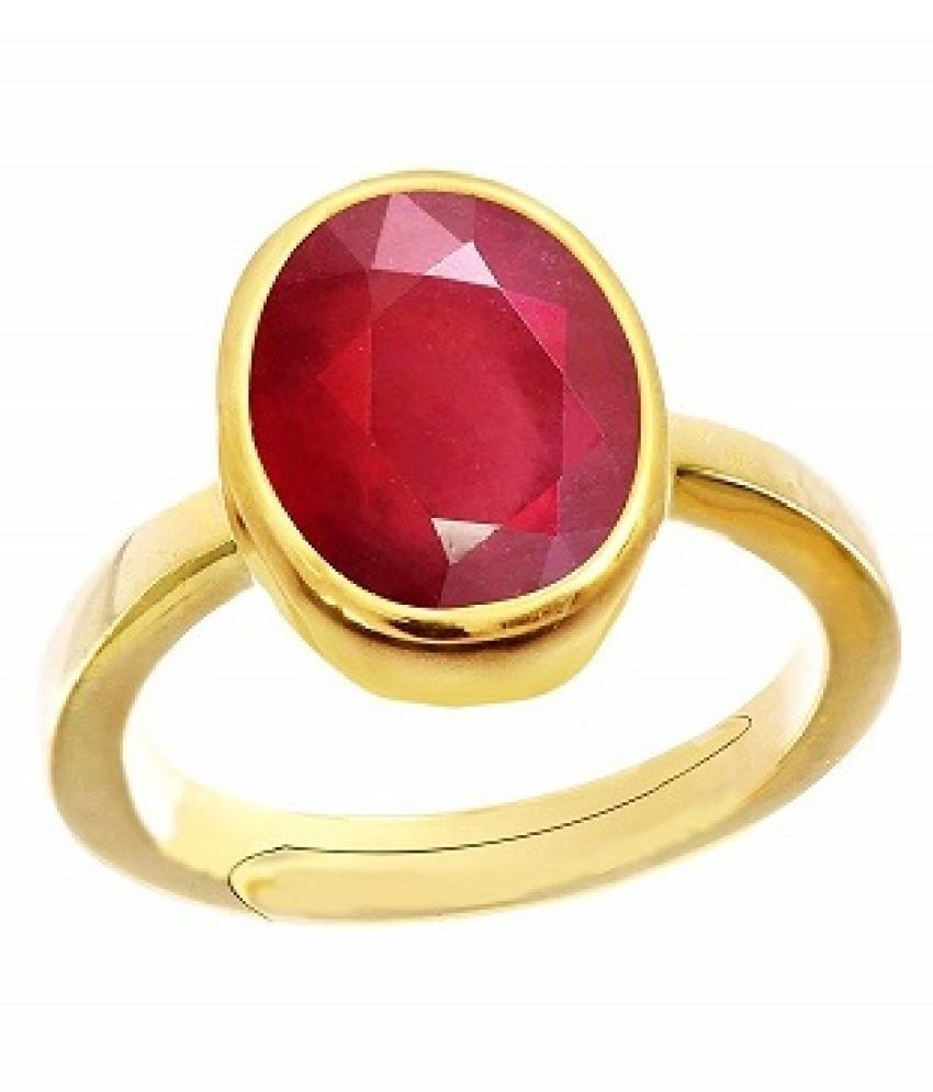 7.25 Ratti  Gold Plated Ruby(Manik) Stone Ring byKUNDLI GEMS