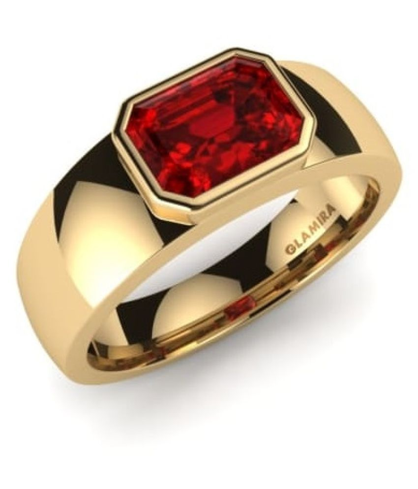 9 carat only  Ruby Ring with Natural & Lab Certified gold plated by KUNDLI GEMS
