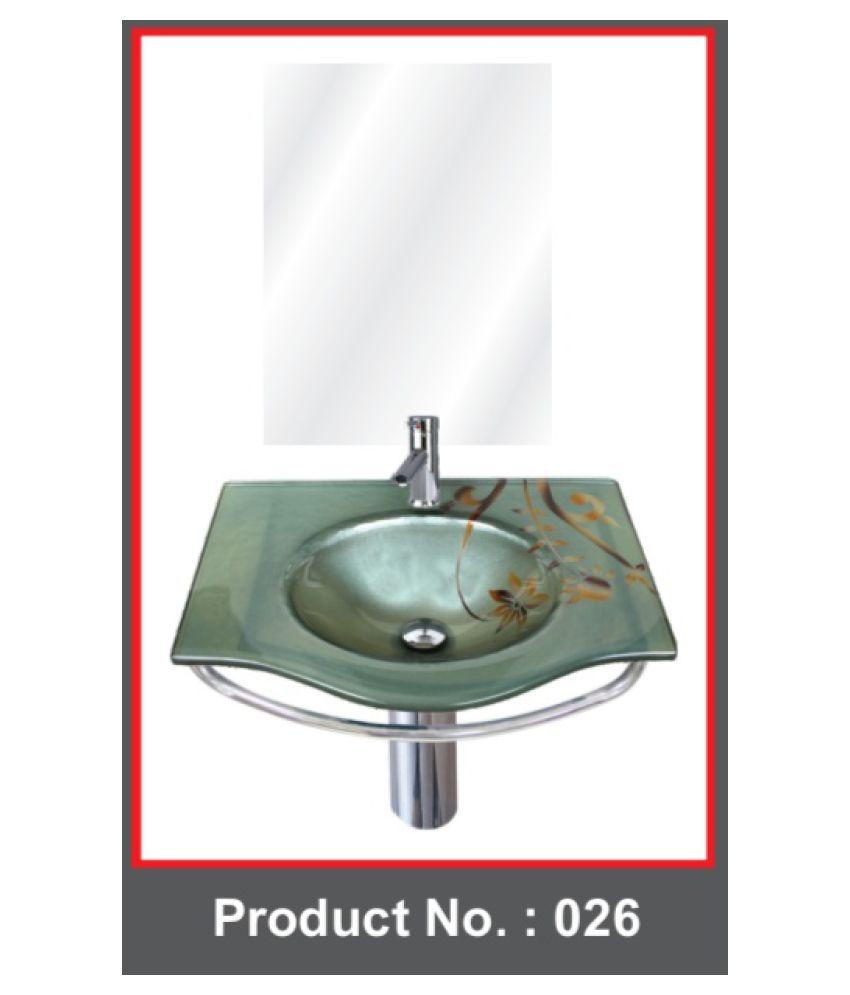 ARVIND SANITARY Grey Toughened Glass Wall Hung Wash Basins