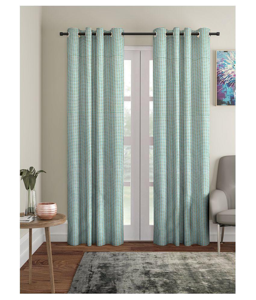 Blanc 9 Single Long Door Rod Pocket Cotton Curtains Green