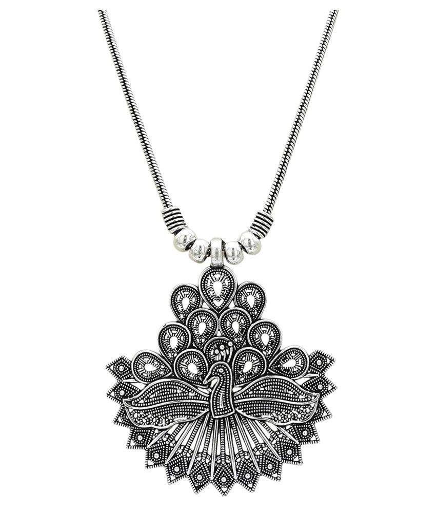 High Trendz Oxidised Silver Metal Gypsy Style Statement Chain With Peacock Pendant