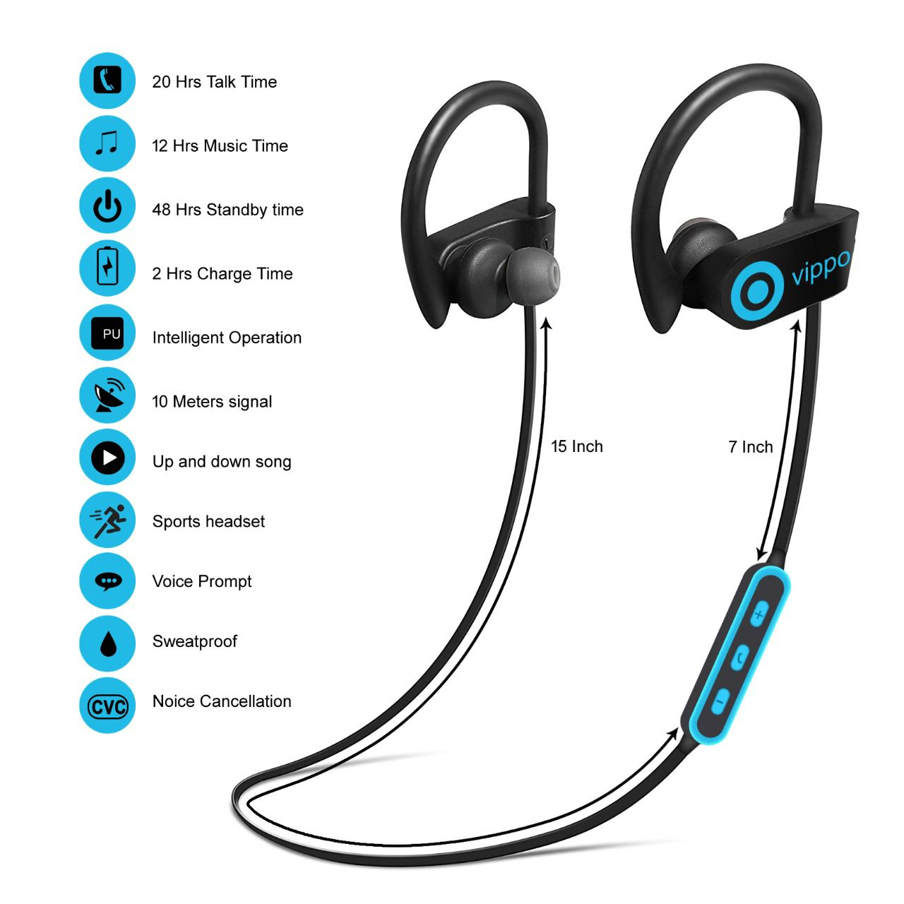 VIPPO QC 10 Gio Zone HItage Bluetooth airbud Orginal Airpod Neckband Wireless With Mic Headphones/Earphones