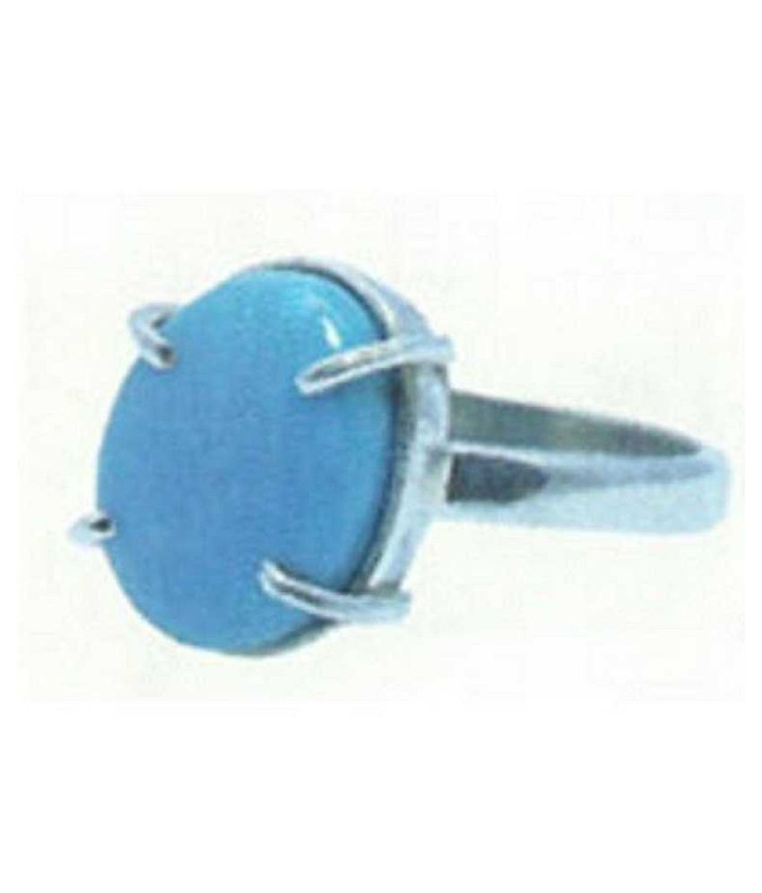 5 carat only Turquoise(Firoza)  Ring with Natural Turquoise & Lab Certified Silver Turquoise by Ratan Bazaar