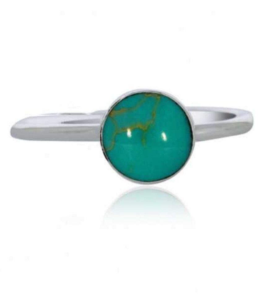 6.25 ratti Silver Turquoise(Firoza)  Ring  for unisex by Ratan Bazaar\n