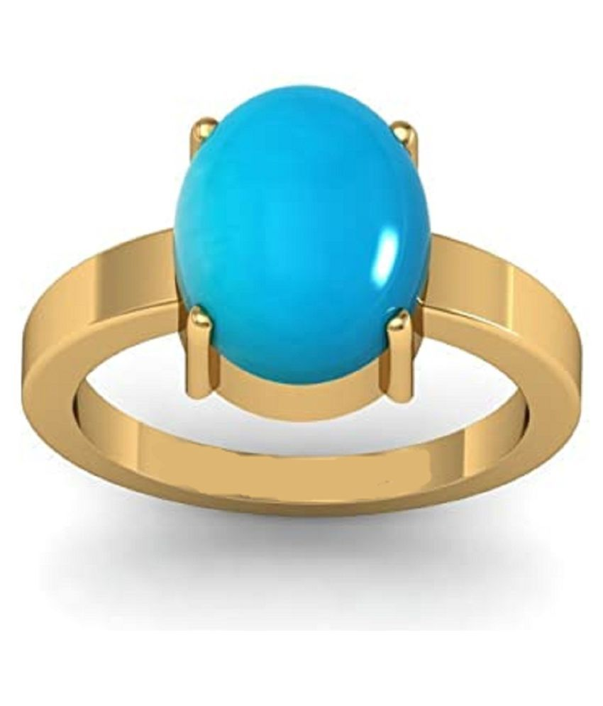 7.5 Carat   Turquoise Ring with lab Certified  Gold Plated Turquoise Stone  by Ratan Bazaar