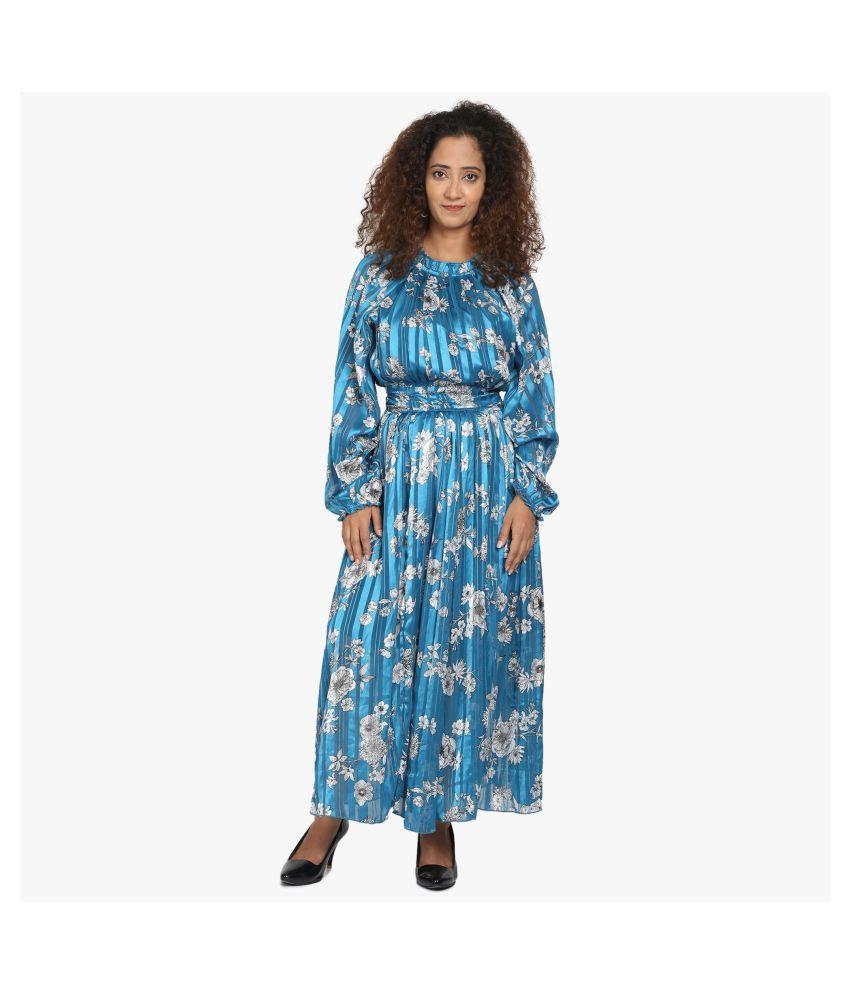 WOZTY Chiffon Blue Fit And Flare Dress
