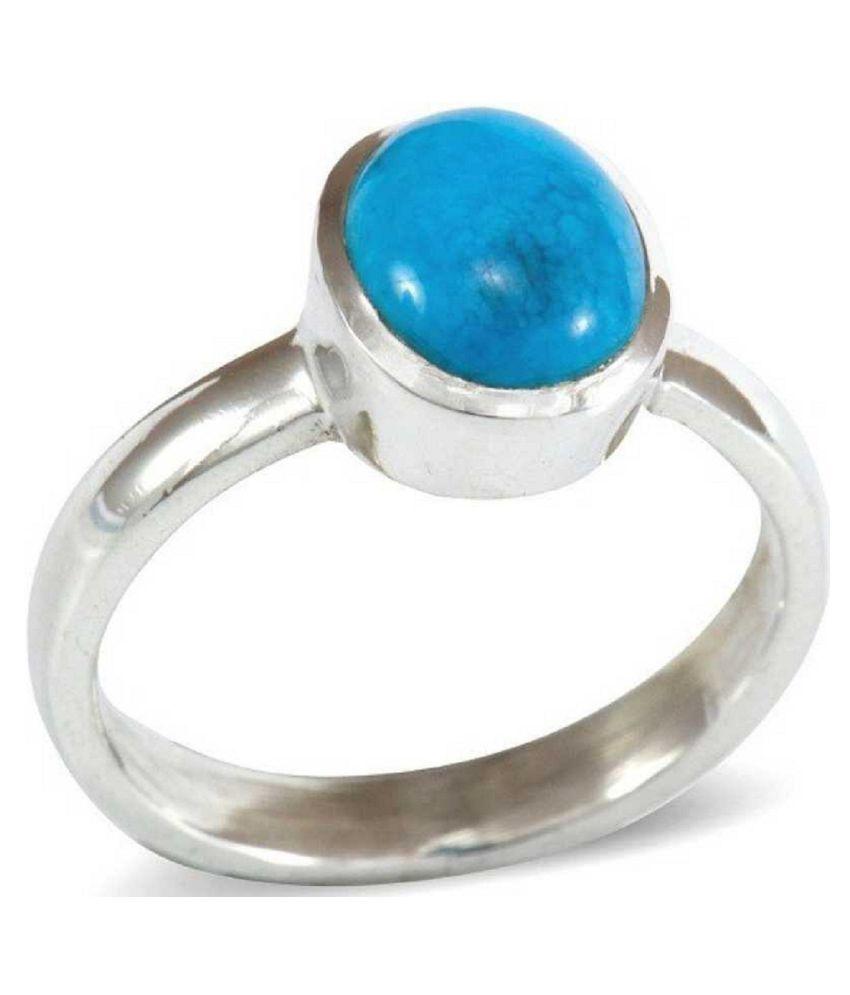 100% Natural 8 carat Turquoise(Firoza)Silver Ring  by Kundli Gems\n