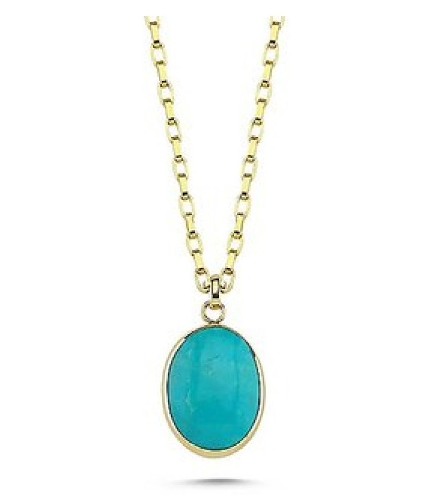 2.25 carat Natural Gold Plated Turquoise(Firoza)  Pendant without chain by Kundli Gems\n