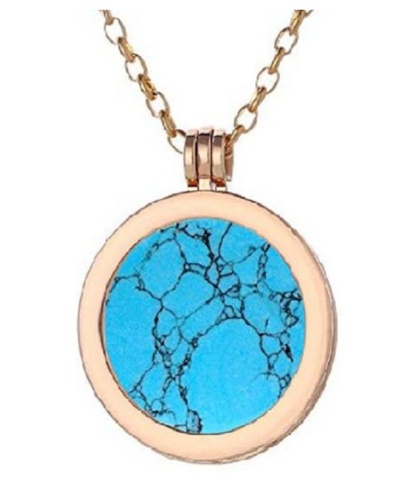 4.25 Ratti Gold Plated Original Turquoise Pendant without chain Lab Certified Stone by Kundli Gems\n