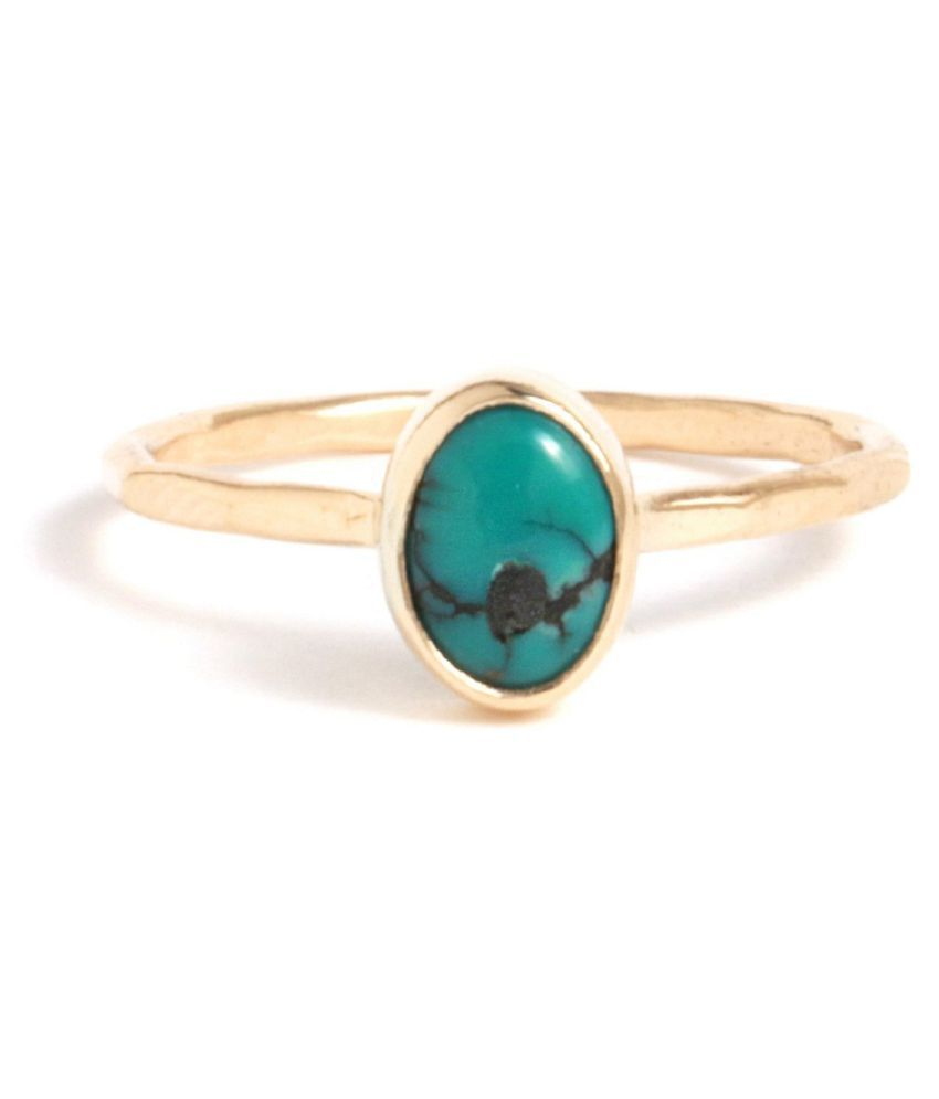 5 carat pure Turquoise(Firoza)  Gold Plated Ring  by Kundli Gems\n
