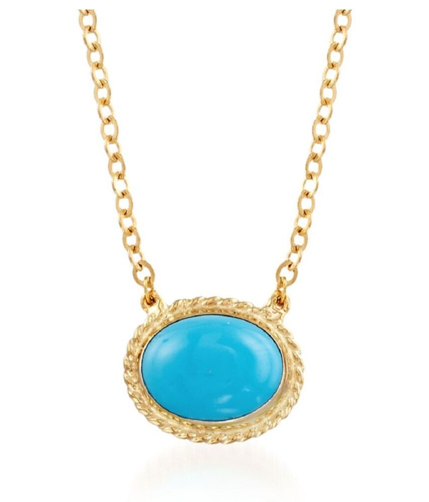9.25 ratti stone pure Turquoise Gold Plated Pendant without chain for unisex by Kundli Gems\n