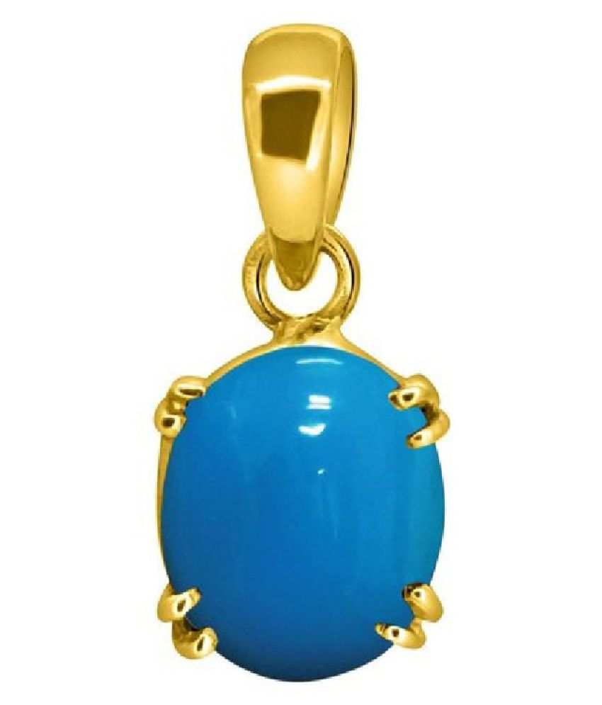 9.5 Carat Stone Turquoise Gold Plated Pendant without chain for unisex by Kundli Gems\n