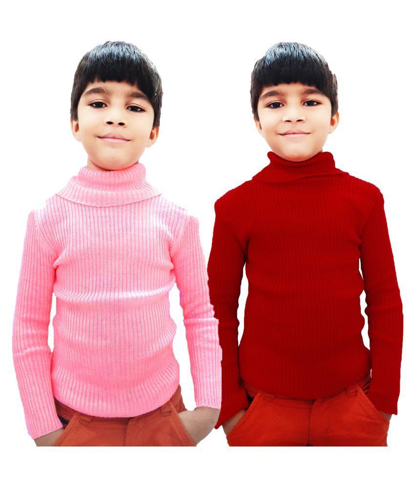 AD & AV BOYS AND GIRLS HIGH NECK INNER COMBO_KIDS_INNER_RED_PINK
