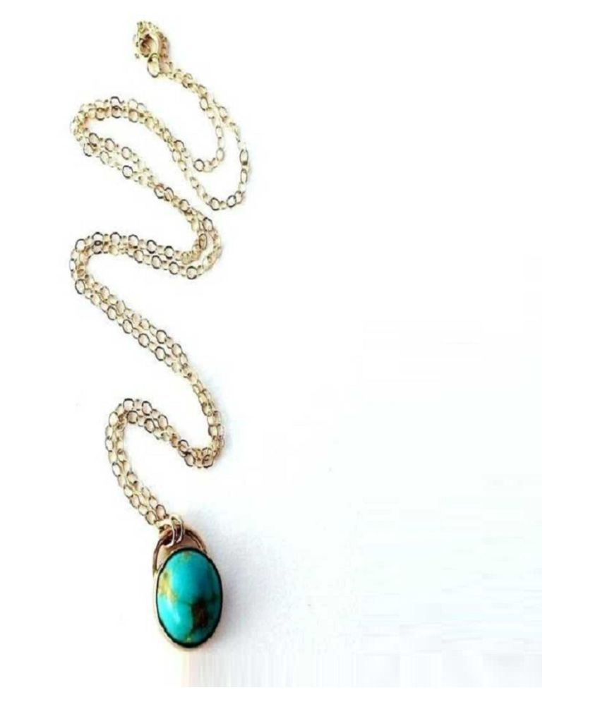 Kundli Gems-  3 Carat Turquoise Pendant with Natural Turquoise Stone Astrological & Lab Certified Gold Plated Turquoise Stone