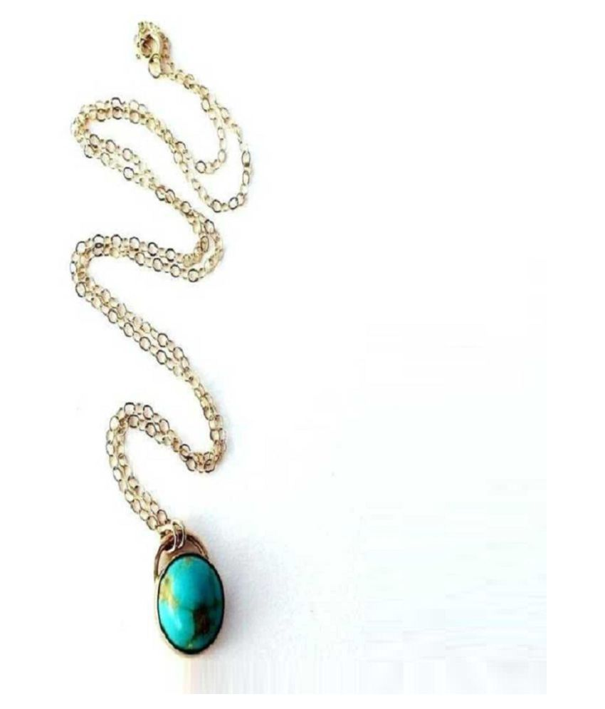 Kundli Gems-  4 Carat Turquoise Pendant with Natural Turquoise Stone Astrological & Lab Certified Gold Plated Turquoise Stone