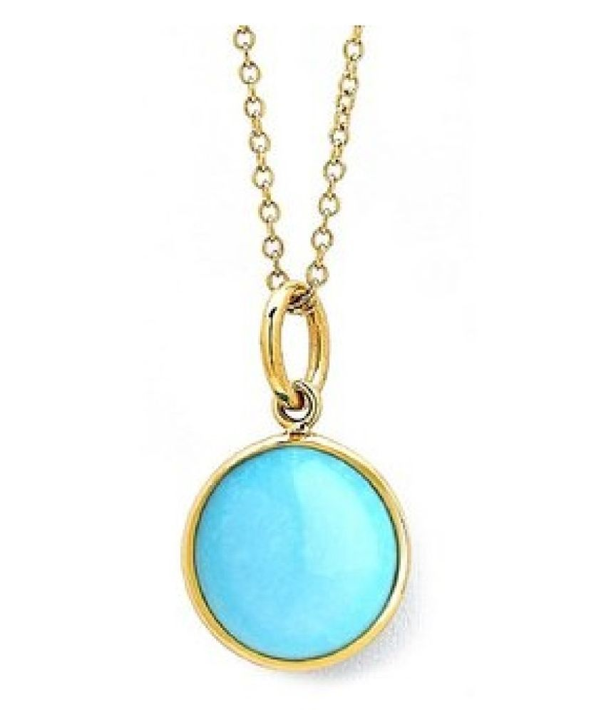 Pendant 4 ratti Natural Turquoise  Gold Plated Pendantwithout chain by Kundli Gems