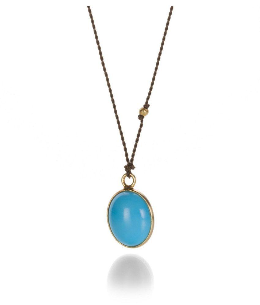 10.25 ratti Pendant Natural Turquoise Ashthdhatu Gold Plated Pendantwithout chain by Kundli Gems
