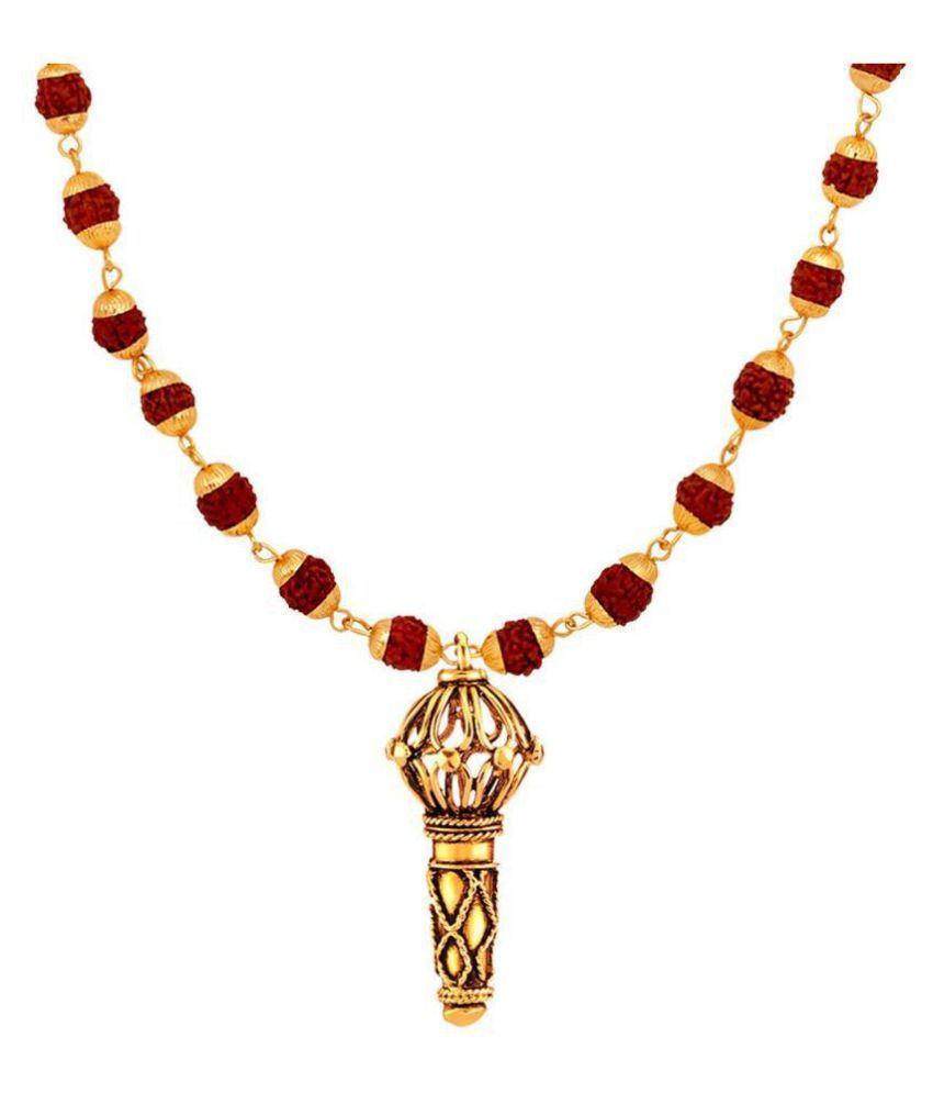 Mahi Lord Hanuman Gada Religious Pendant with 24 Inch Rudraksh Mala for Men (PS1101714G)