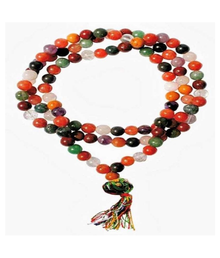 Natural Navratna Beads Mala For original and lab certified stone mala for unisex By KUNDLI GEMS