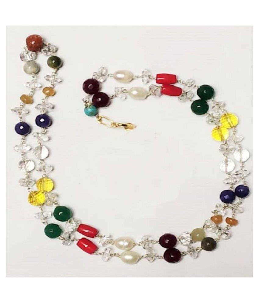 Natural Navrtana Beads Mala Original & lab Certified stone Mala For Unisex By Kundli Gems