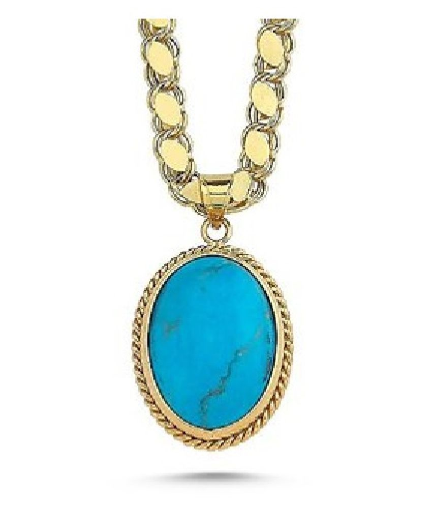 Natural Turquoise(Firoza)  12.25 Carat  Gold Plated Pendant without chain  by Kundli Gems\n