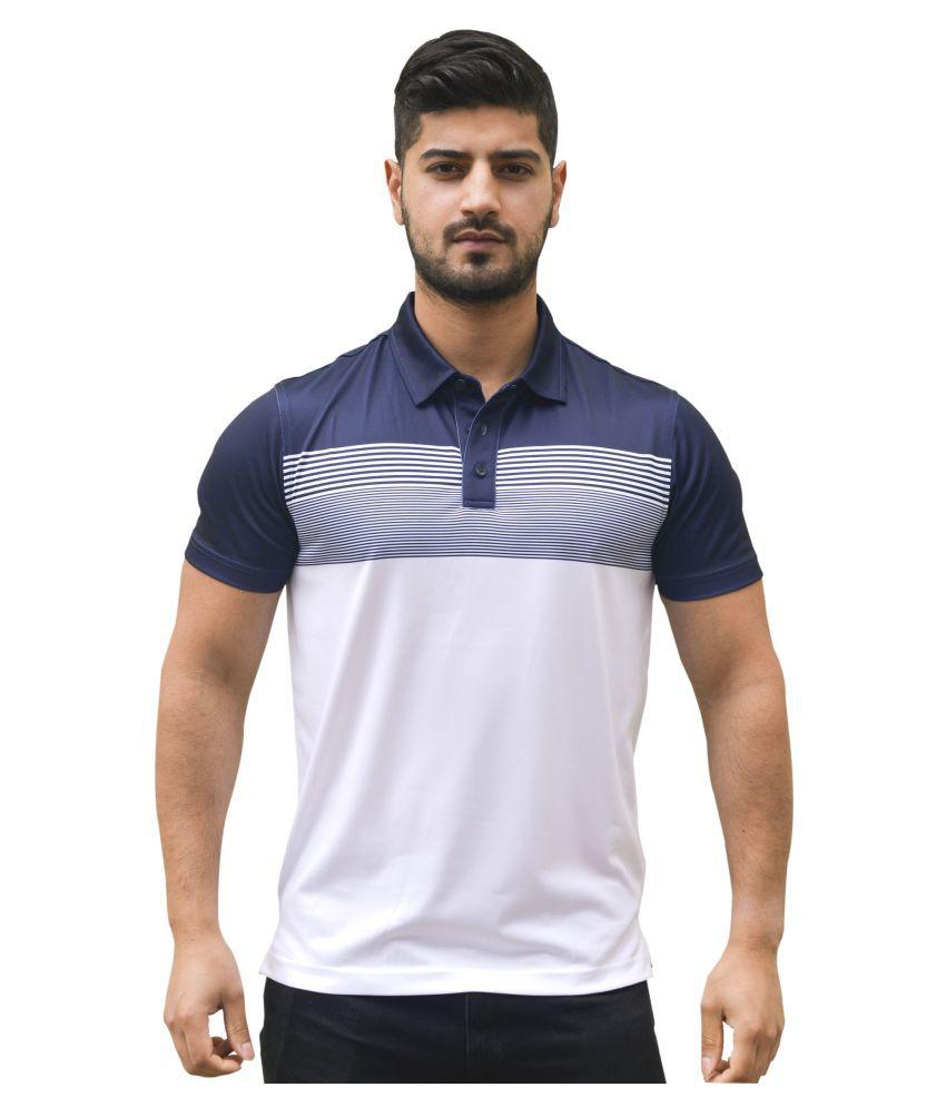 Neomax Polyester Lycra White Color Block Polo T Shirt