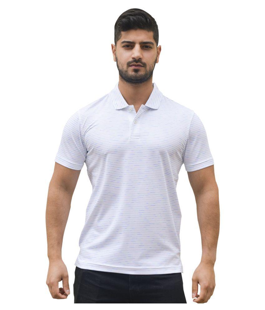 Neomax Polyester Lycra White Stripers Polo T Shirt