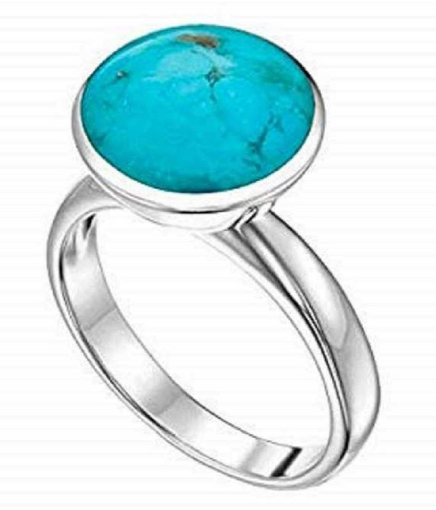 Ring 11 ratti Natural Turquoise  Silver  Ring by Kundli Gems
