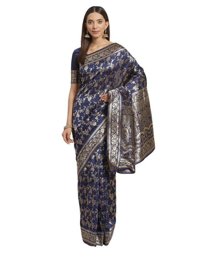 Salwar Studio Blue Banarasi Silk Saree