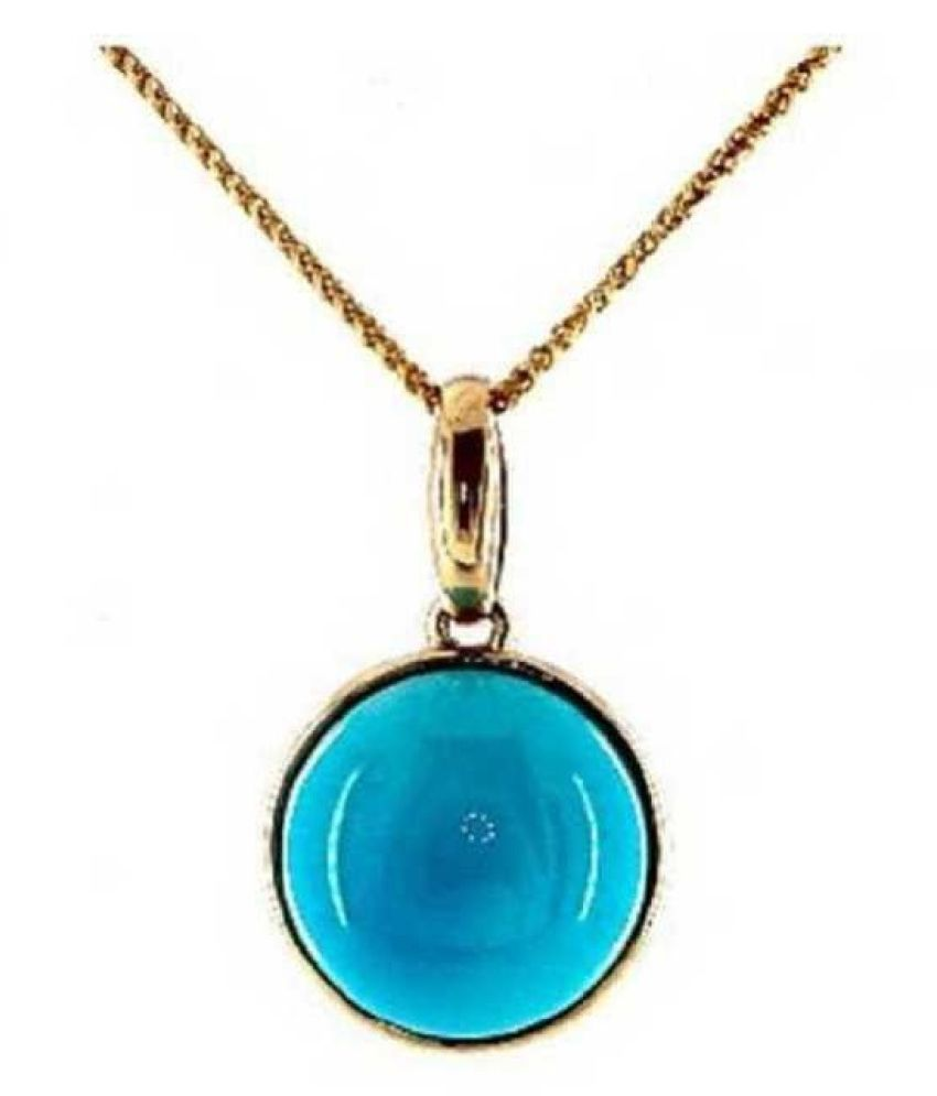 2 carat pure Turquoise Gold Plated Pendant without chain by Ratan Bazaar\n