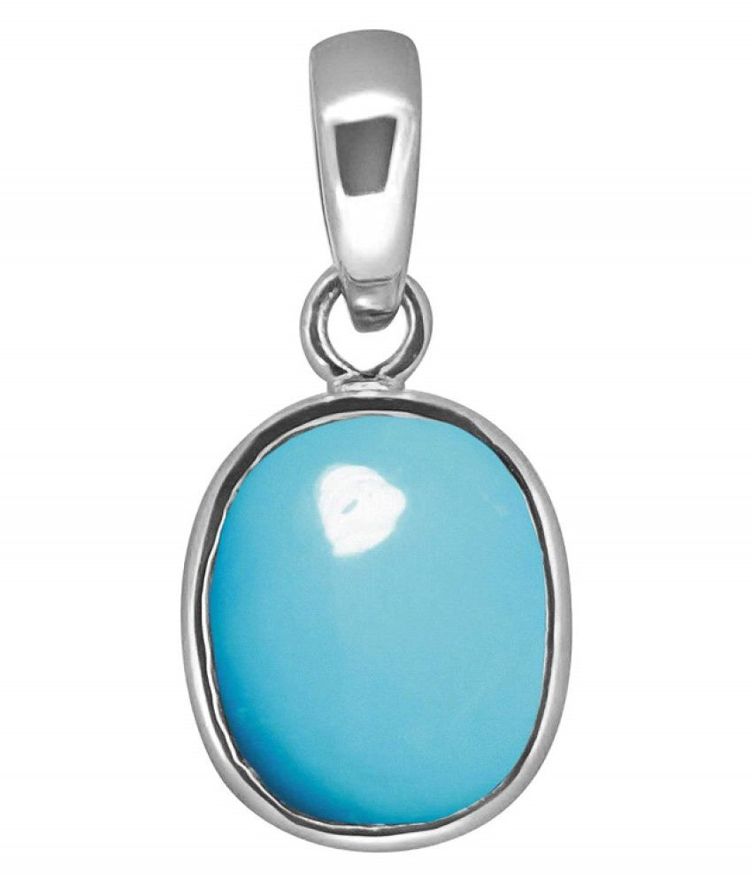 3 RATTI  Silver Turquoise Pendant without chain by Ratan Bazaar\n
