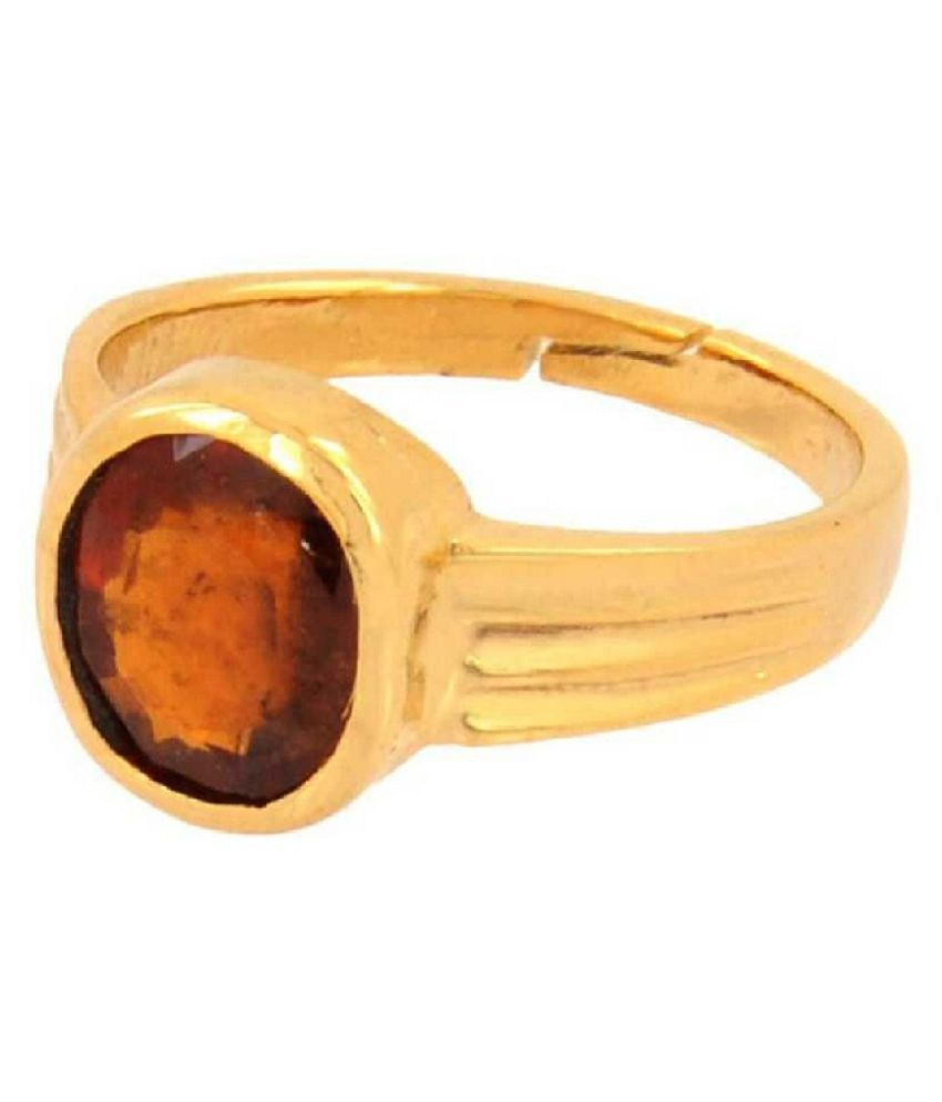 3 carat pure Hessonite(Gomed)   Gold Plated Ring  by Ratan Bazaar\n