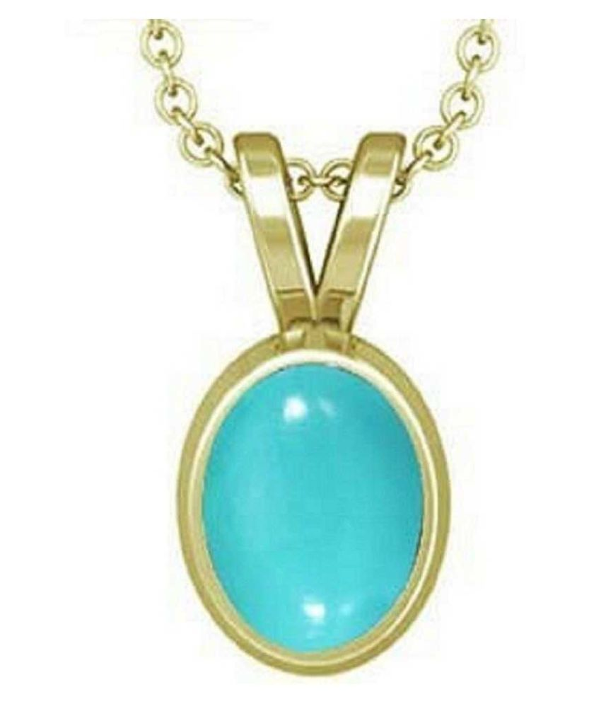 5 ratti Stone 100% Natural Turquoise Gold Plated Pendant without chain by Ratan Bazaar\n