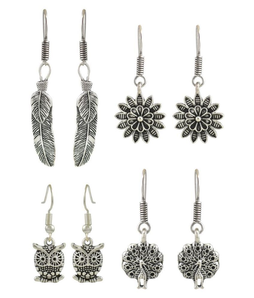 High Trendz Oxidized Silver Charms Earrings Combo For Women And Girls (C4-1)