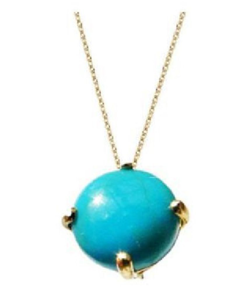 10.5 ratti natural Turquoise(Firoza)Stone pure Gold Plated Pendant without chain for  Men & Women  by Ratan Bazaar\n