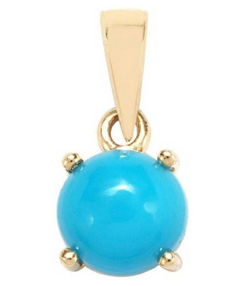 11.25 ratti stone pure Turquoise Gold Plated Pendant without chain for unisex by Ratan Bazaar\n