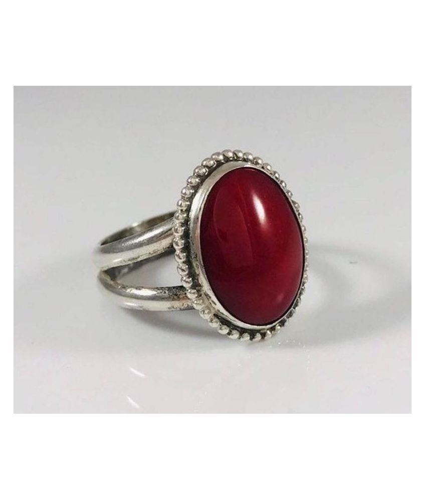 12.25 ratti Ring Natural Hessonite(Gomed) Silver  Ring  by Ratan Bazaar