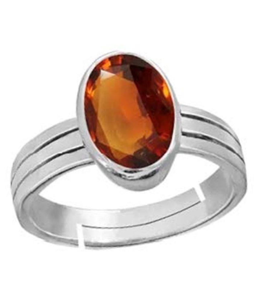 12 carat pure Hessonite(Gomed)Silver Ring  by Ratan Bazaar\n