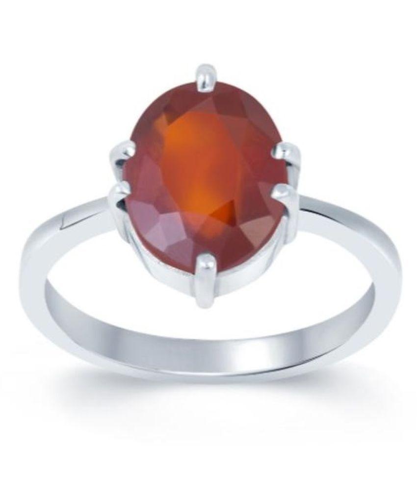12 carat pure Hessonite Silver Ring  by Ratan Bazaar\n