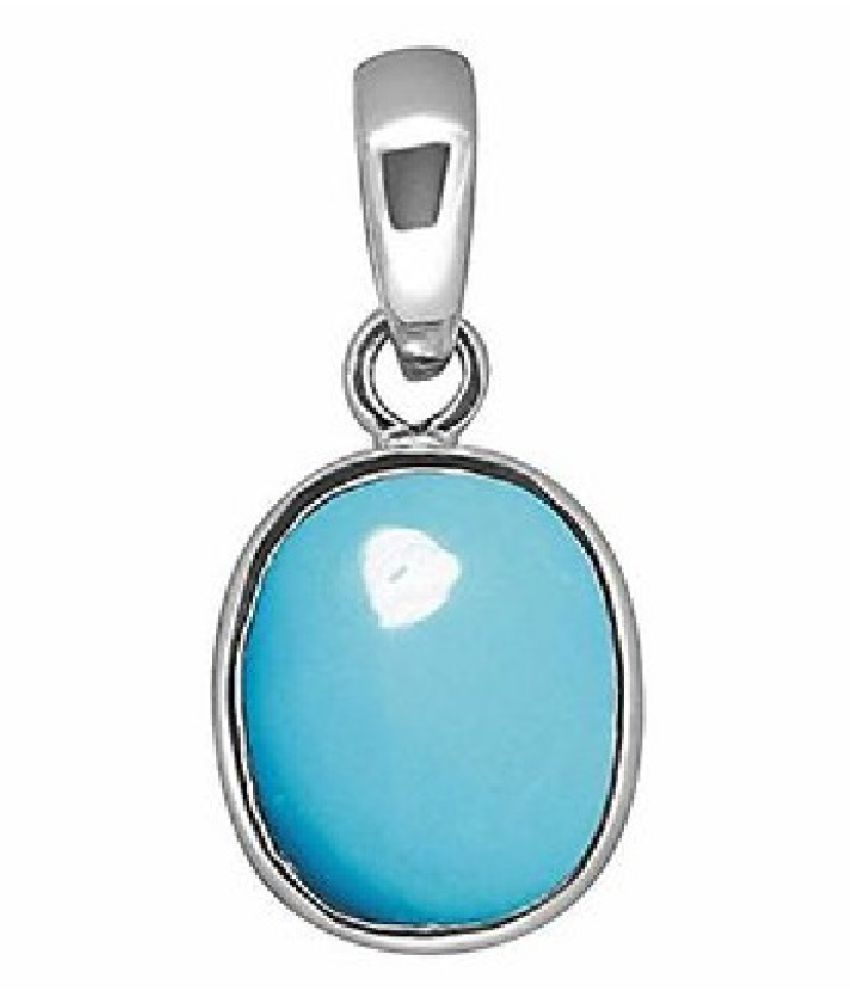 8 carat pure Turquoise (Firoza)  Silver Pendant without chain by Ratan Bazaar\n