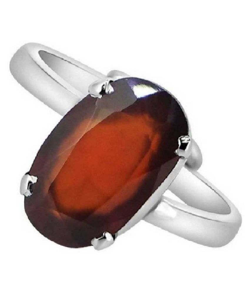 9.5 Ratti Lab Certified Stone 100% Original Hessonite Silver Ring  for unisex by Ratan Bazaar\n