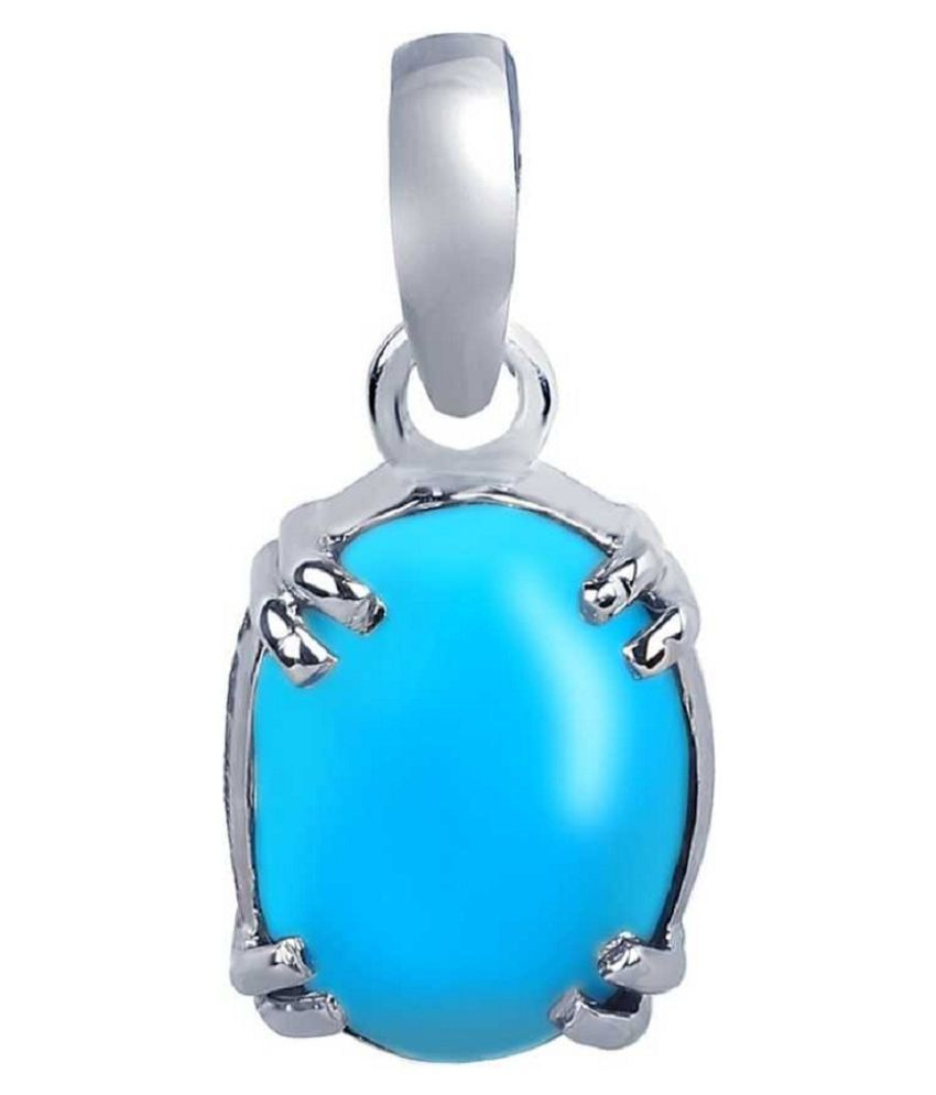 9 carat pure Turquoise Sterling  Silver Pendant without chain by Ratan Bazaar\n