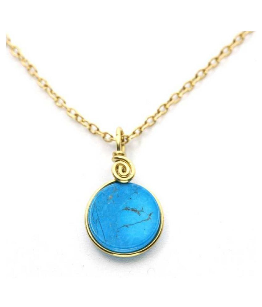 Natural Lab Certified 6 carat 100% Original Gold Plated  Turquoise pendant without chain for unisex by Ratan Bazaar\n