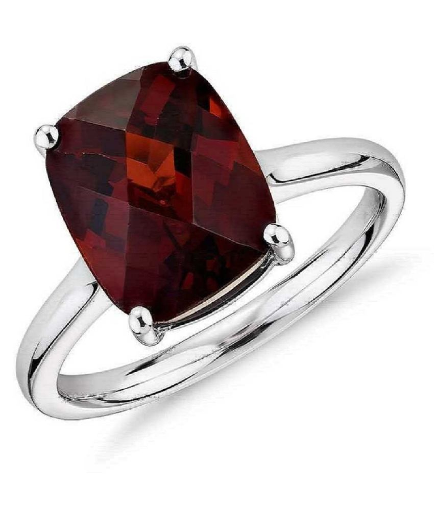 11 ratti   Stone  Natural Hessonite Silver Ring  by Kundli Gems\n