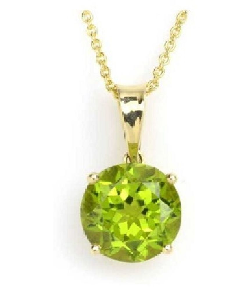 12.5 Carat White Peridot moti Pendant with lab Report Gold Plated Peridot Stone without chain by Ratan Bazaar