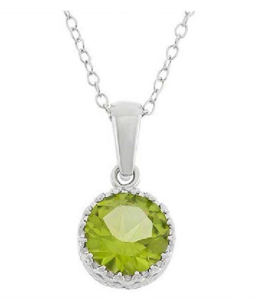 2 Carat Lab Certified White Silver Peridot Moti Pendantwithout chain for unisex by Ratan Bazaar
