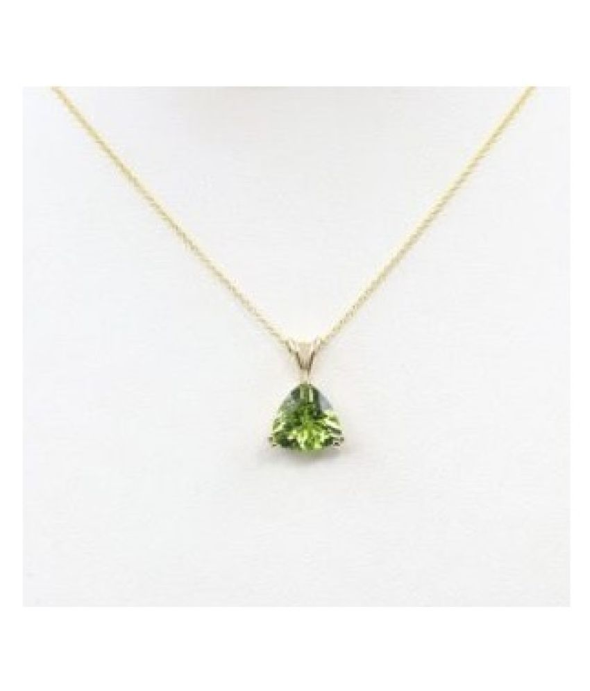 3.5 Ratti Lab Certified Stone 100% Original Peridot Gold Plated Pendant without chain for unisex by Ratan Bazaar\n