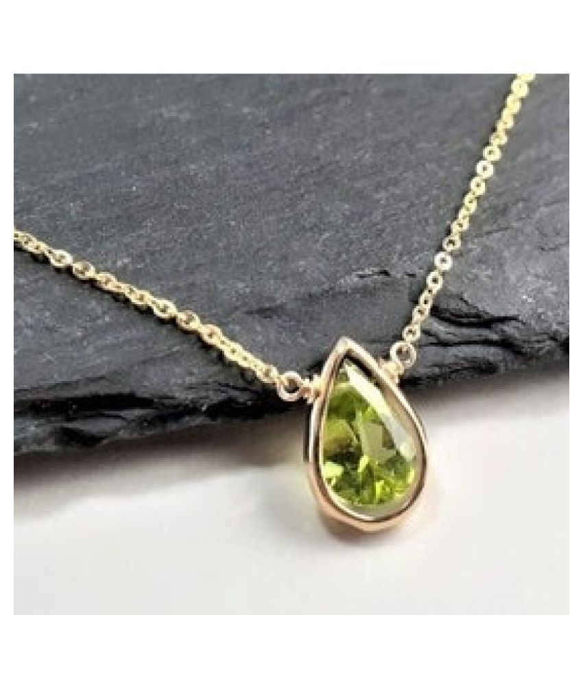 4.5 Ratti Peridot Gold Plated Adjustable Pendant without chain for Unisex by Ratan Bazaar\n