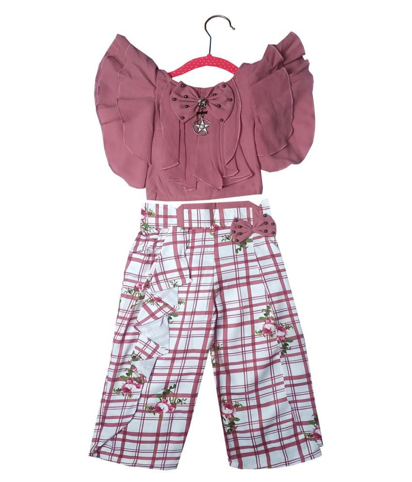 ALL ABOUT PINKS® Combo of Top and Pants Party Wear Dresses for Girls Birthday Dress Party Dress for Girls Dresses for Girls