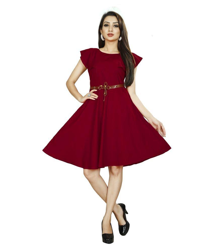 Shital Fashion World Crepe Maroon Fit And Flare Dress